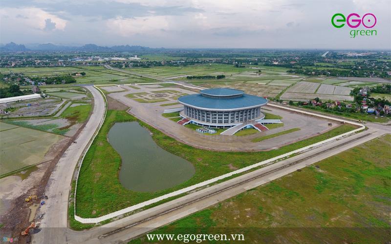 Thi công cảnh quan nhà thi đấu Đông Triều Quảng Ninh