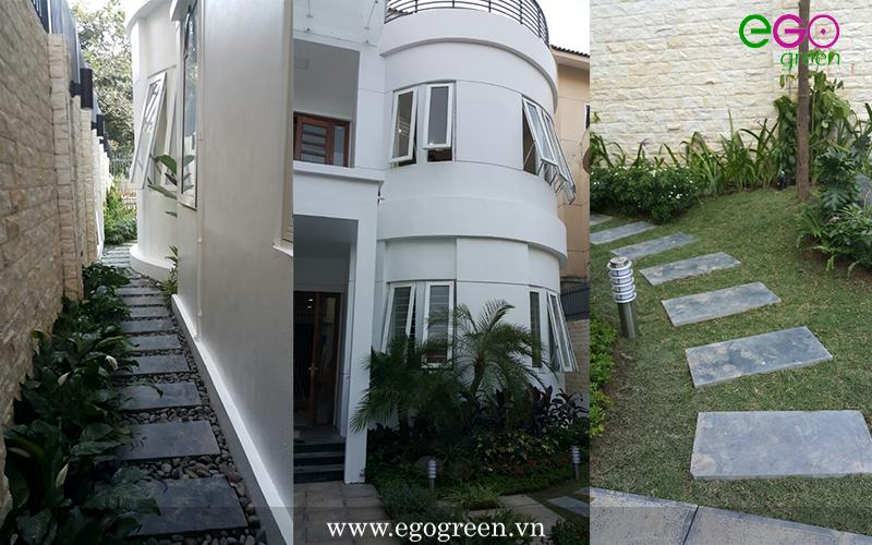 Cảnh quan sân vườn với vẻ đẹp hiện đại cho căn biệt thự