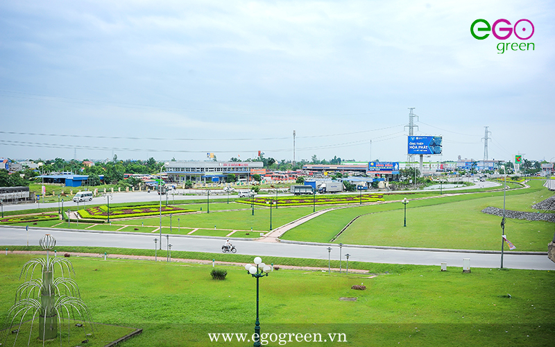 Thi công cảnh quan nút giao thông Lộc Hòa, Nam Định
