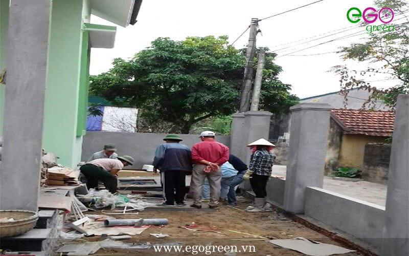 Thi công cảnh quan sân vườn biệt thự nhà Anh Hiếu, Quảng Ninh