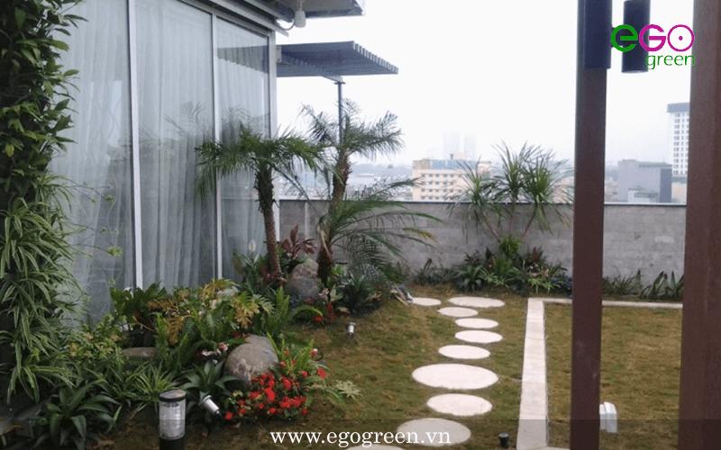 thi công vườn trên mái