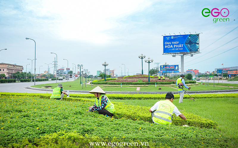 Quá trình thi công cảnh quan nút giao thông Lộc Hòa, Nam Định