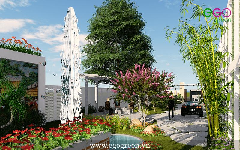Thiết kế cảnh quan sân vườn biệt thự Đông Anh – Hà Nội