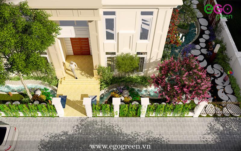 Thiết kế kiến trúc xanh khu vực sân vườn biệt thự Splendora